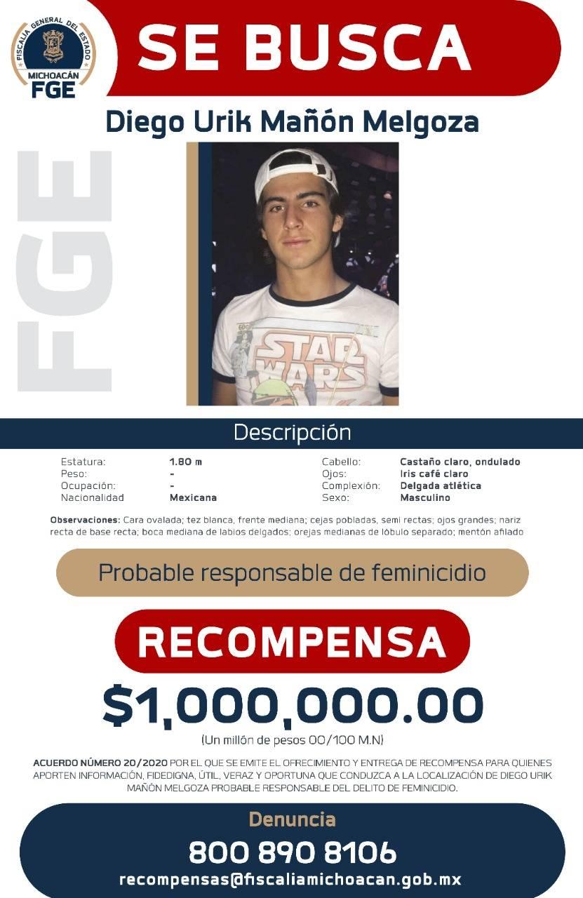 FGE de Michoacan emite alerta migratorio contra Diego Urik