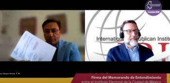 IECM e IRI firman pacto para fortalecimiento de la cultura democrática