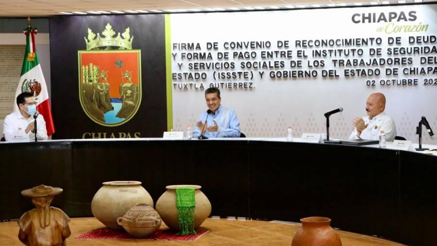ISSSTE y Chiapas firman convenio para saldar mil 800 mdp