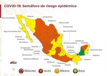 Semáforo naranja en 17 estados, 14 amarillo; Campeche se mantiene en verde