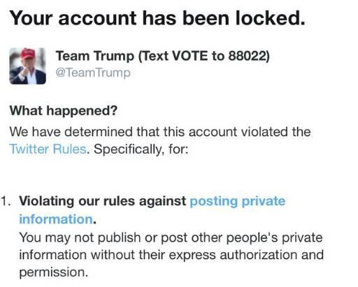 Twitter baja cuenta  de campaña de Trump