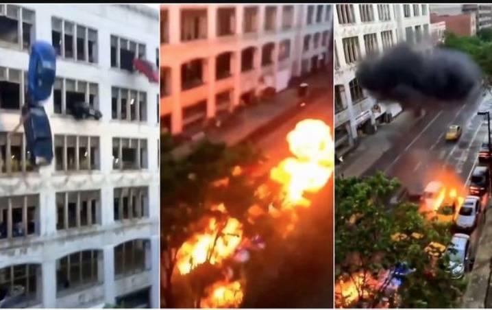 Video: Automóviles caen desde un edificio y se hacen virales en TikTok