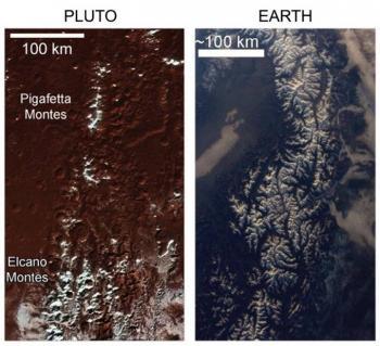 Plutón y sus montañas nevadas
