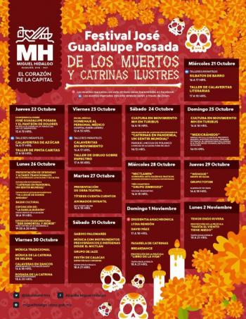 """Conoce la cartelera virtual para """"Día de muertos"""" de la Miguel Hidalgo"""