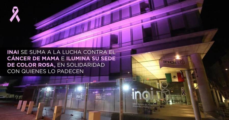 El INAI se viste de rosa en solidaridad a la lucha contra el cáncer de mama