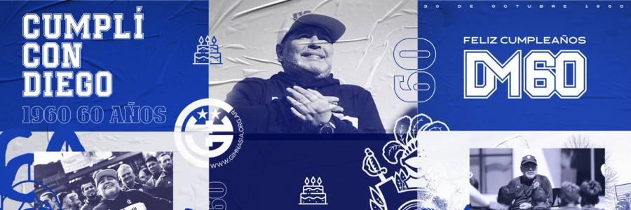Club Gimnasia le celebra sus 60 años a Diego Maradona