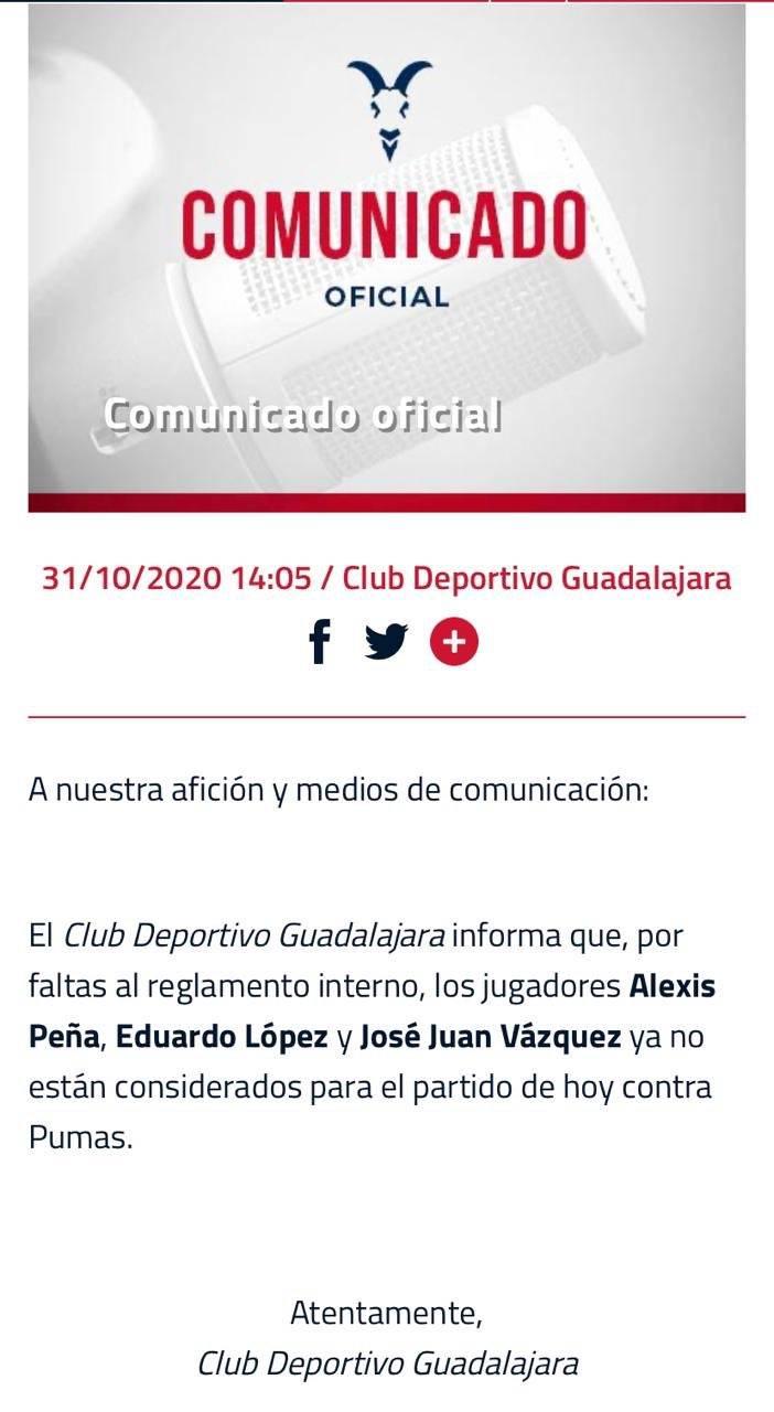 Chivas suspende a 3 jugadores por incumplimiento de reglamento
