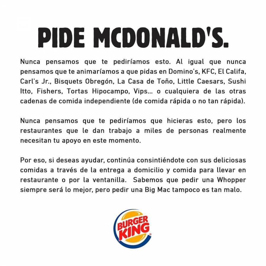 ¡Increíble! Burguer King pide a clientes comprar McDonalds