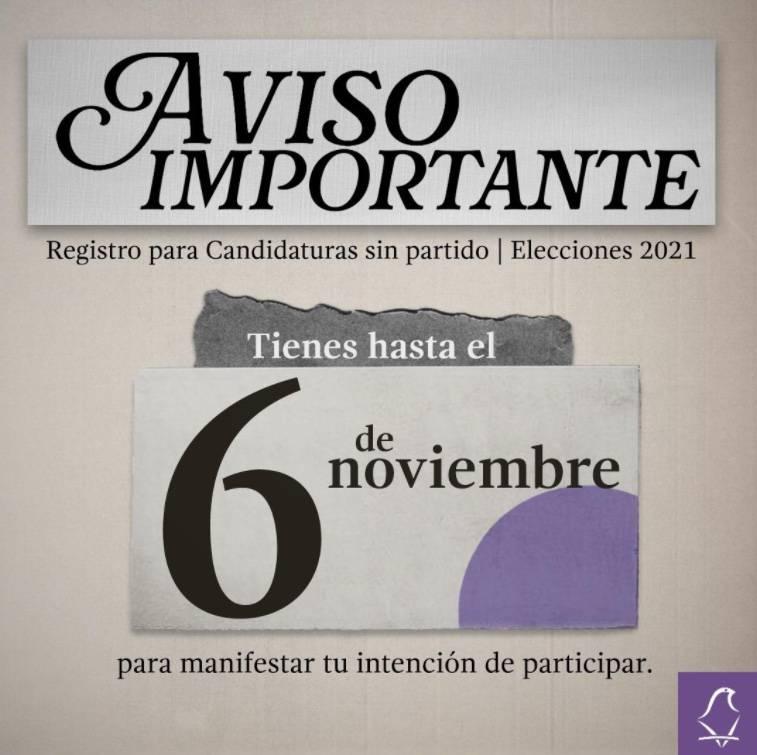 Recuerda IECM plazo para entrega de manifestaciones de intención de candidaturas sin partido