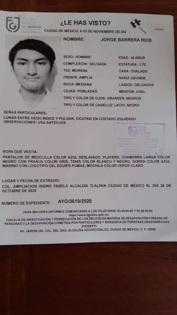 #NosFaltaJorge: Activan alerta amber por la desaparición de un menor