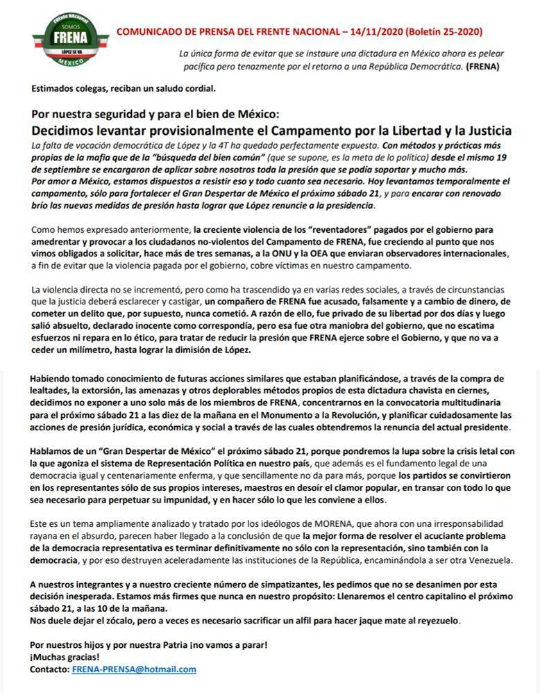 FRENA se retira del zócalo hasta la marcha del próximo 21 de noviembre