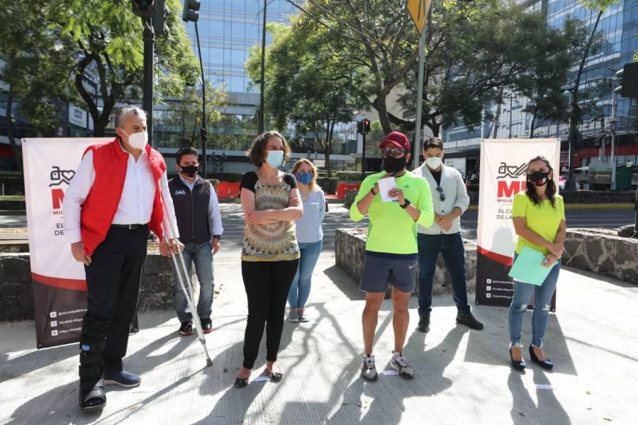Alcaldía Miguel Hidalgo se preocupa por el paso peatonal y la seguridad de ciclistas