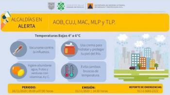Activan alerta amarilla por pronóstico de bajas temperaturas en CDMX