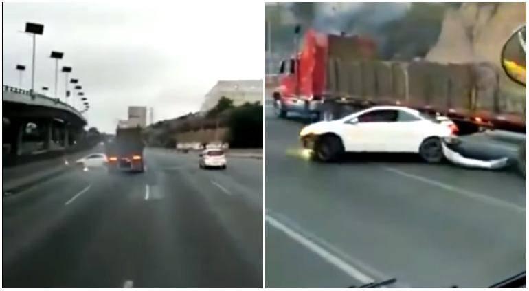 Video: Tráiler arrastra a vehículo sobre la carretera México-Querétaro