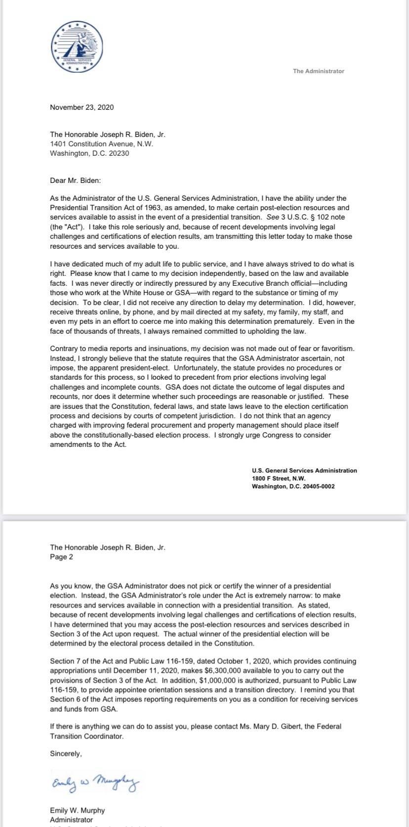 Agencia GSA de Estados Unidos autoriza inicio de la transición del gobierno