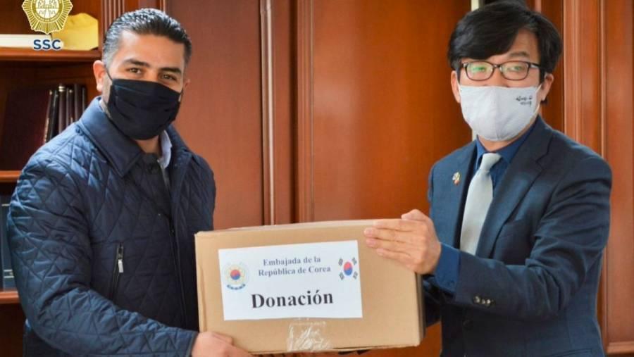 Embajada de Corea del Sur en México dona 35 mil cubrebocas a la SSC