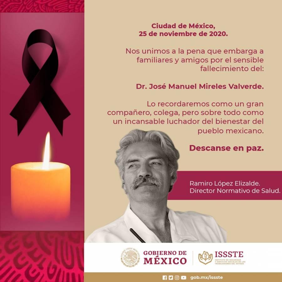 ISSSTE confirma el fallecimiento de José Manuel Mireles