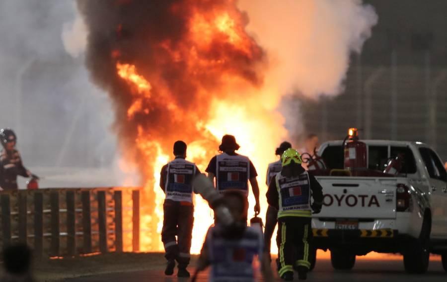 Grosjean sufre aparatoso accidente y su monoplaza se incendia en el GP de Bahréin