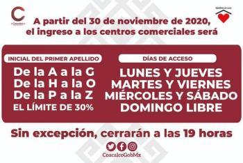 ¡Atención, firmes, ya! Por apellido, ingresarán a centros comerciales en Coacalco