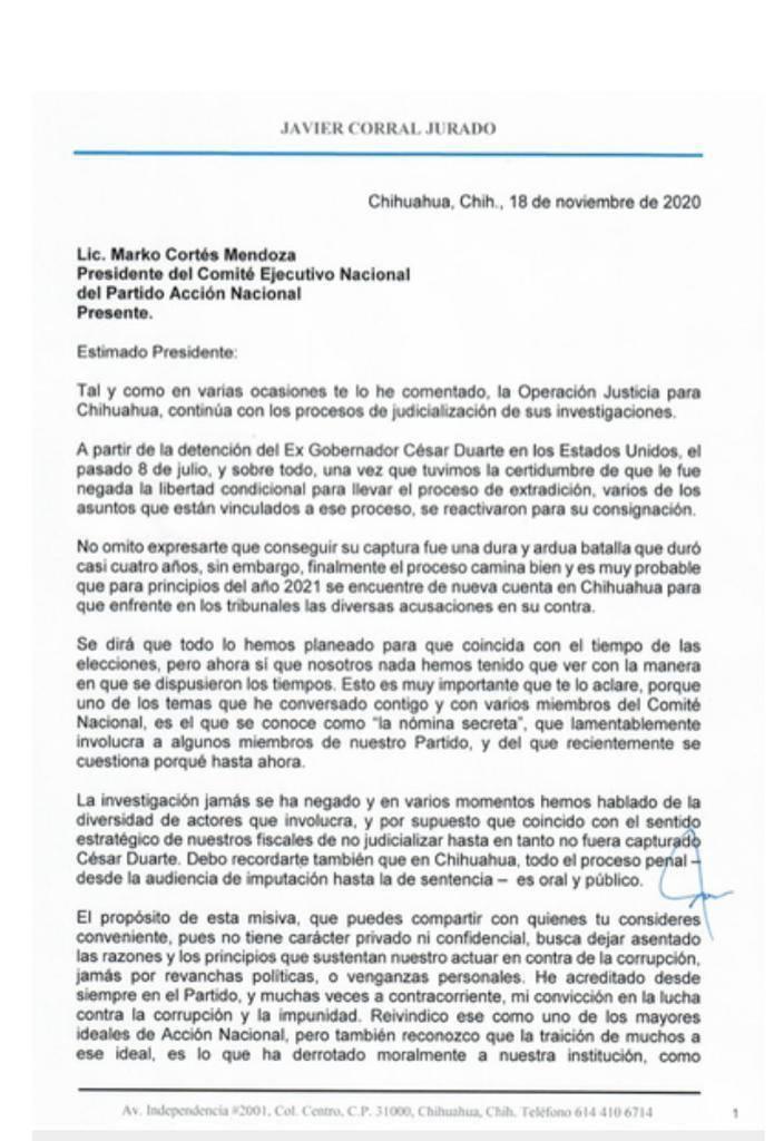 En carta a Marko Cortés, Corral detalla corrupción de panistas