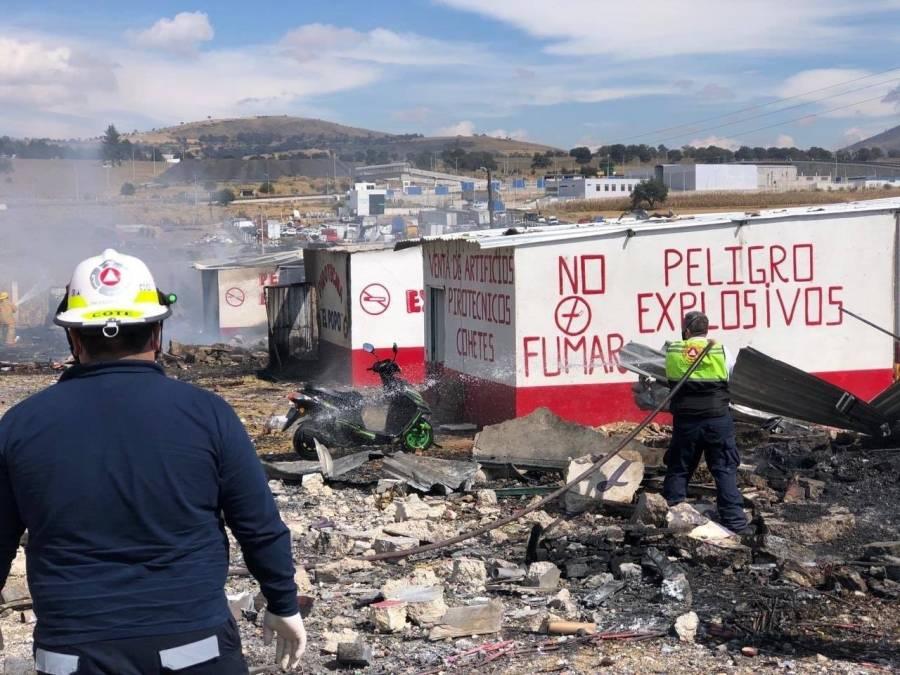 Reportan explosión en puestos de pirotecnia en Tlaxcala