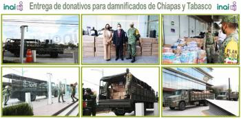 Entrega INAI donativos a Sedena para damnificados de Tabasco y Chiapas