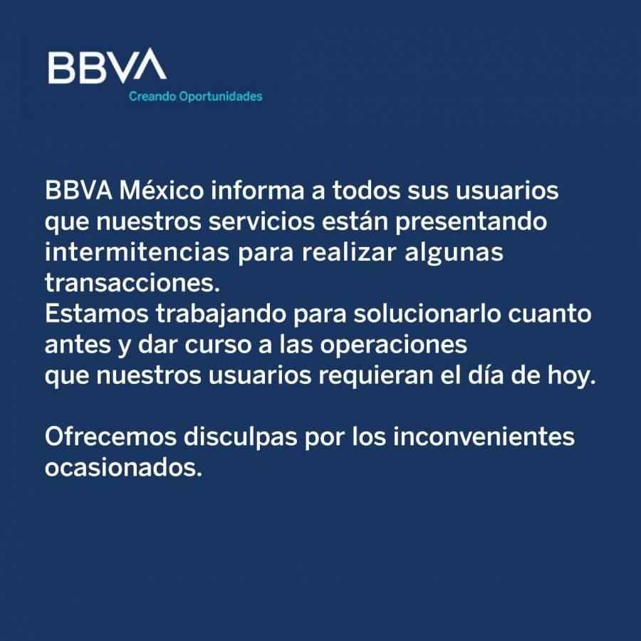 App de BBVA se cae, usuarios se quejan en redes sociales