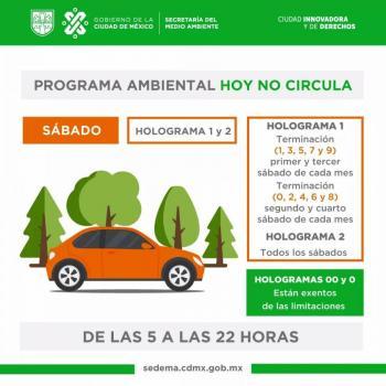 Esta sábado se reanuda Hoy No Circula en la Zona Metropolitana