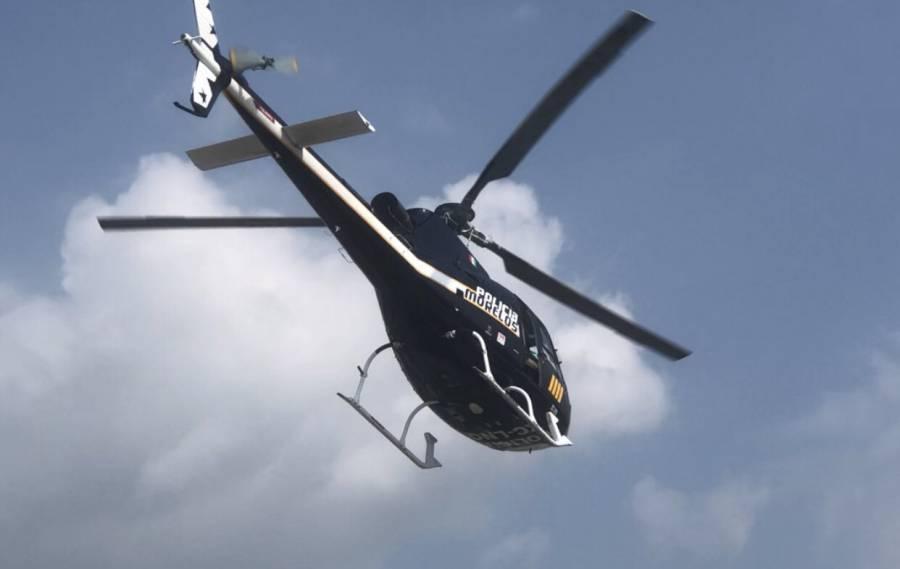 Delincuentes disparan contra helicóptero de CES Morelos; reportan un oficial lesionado