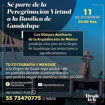 ¡Participa en la peregrinación virtual en honor de la Virgen de Guadalupe! Quédate en casa