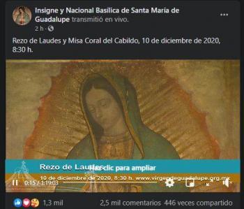 Horarios y transmisiones de la misa de celebración a la Virgen de Guadalupe, quédate en casa