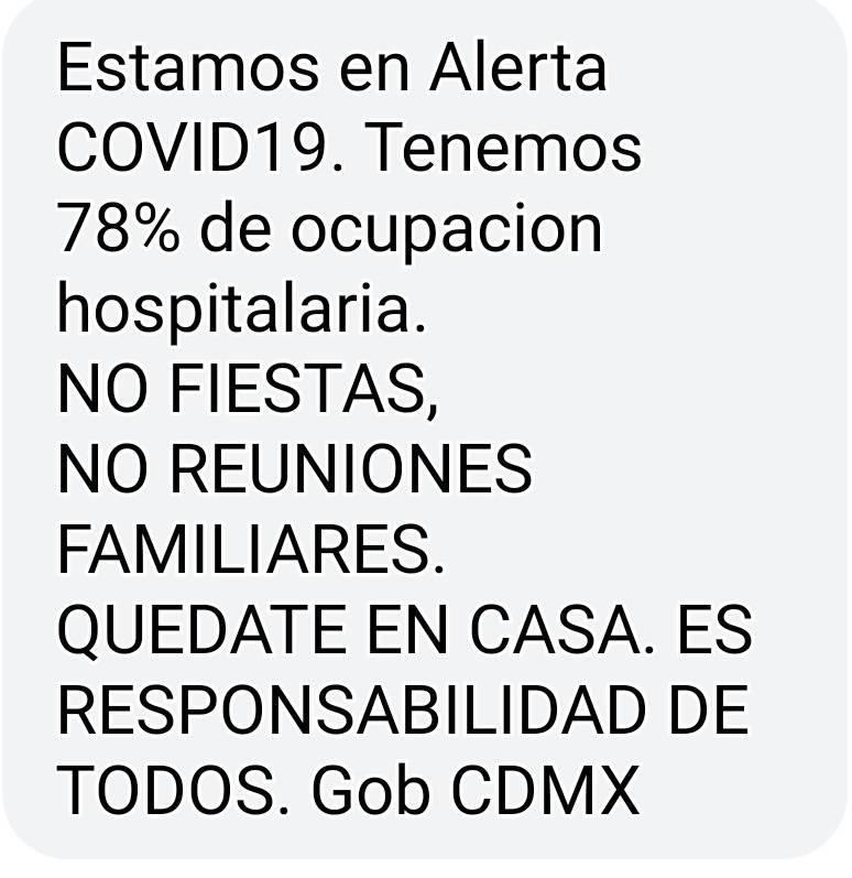 Alerta gobierno CDMX vía SMS por alza de casos Covid