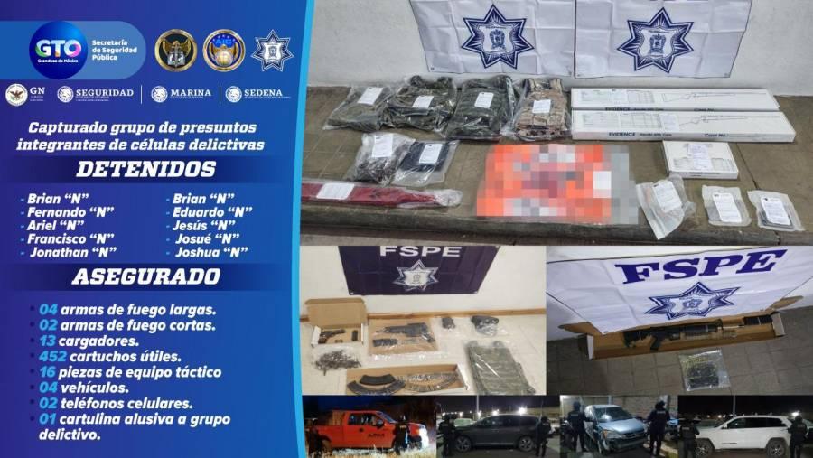 Capturan en la zona Laja-Bajío a presuntos integrantes de células delictivas.