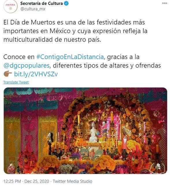 Secretaría de Cultura cambia la Navidad por Día de Muertos