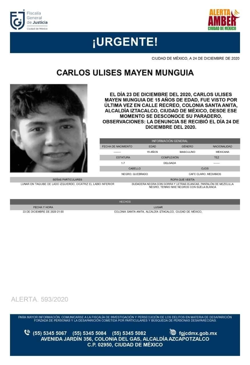 Activan Alerta Amber para localizar a Carlos Ulises Mayen Munguía
