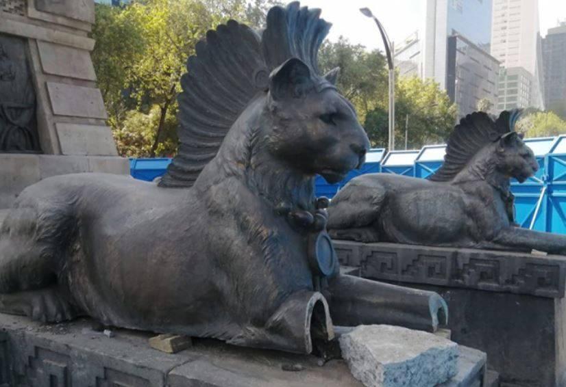 Detienen a tres por cortar piezas de Monumento a Cuauhtémoc en CDMX