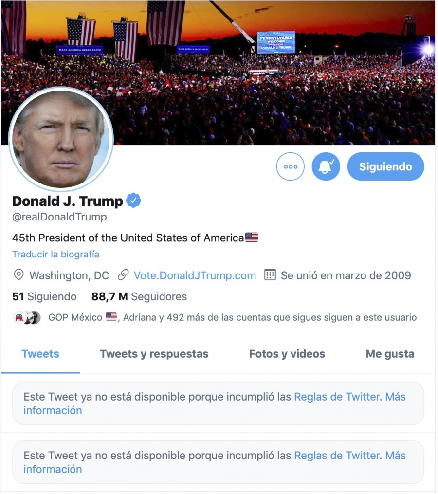 """Trump, vetado en las redes """"indefinidamente"""""""