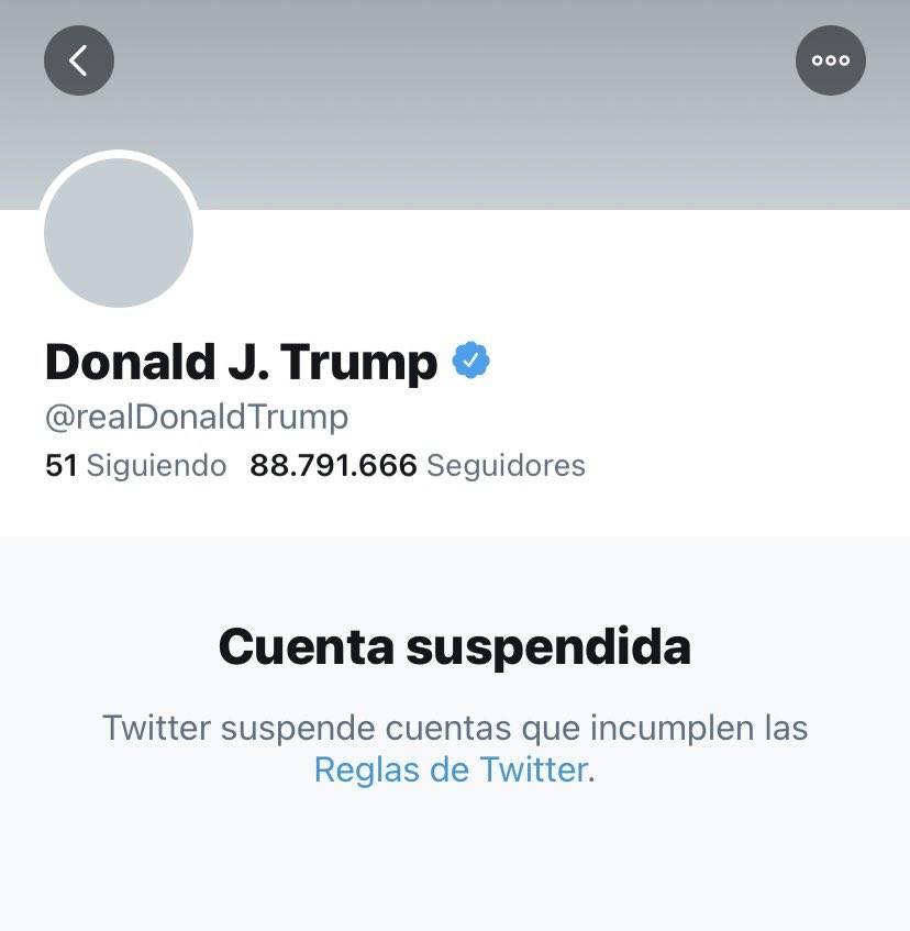 Cuenta de Donald Trump en Twitter suspendida definitivamente
