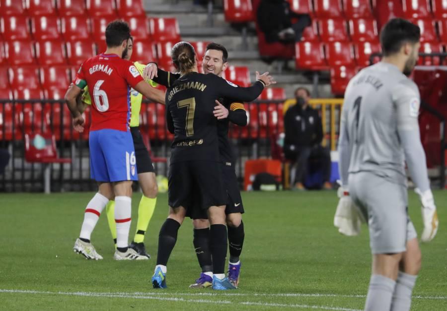 Messi y Griezmann brillan en la goleada del Barcelona sobre el Granada