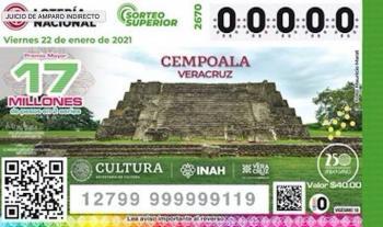Lotería resalta zonas arqueológicas, iniciando por Cempoala, Veracruz