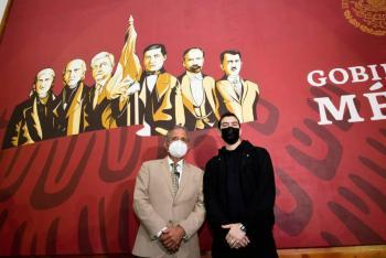 En mural de la 4T, colocan a AMLO junto a héroes nacionales