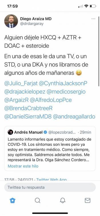 Descalifican a médico mexicano que SSE mofo de AMLO