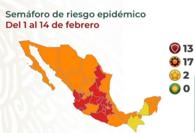 Campeche regresa al Semáforo Amarillo por COVID-19; 13 estados en rojo