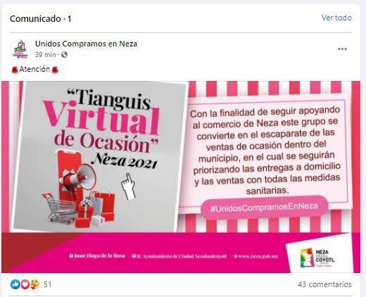 Por 14 de febrero lanzan Tianguis Virtual de Ocasión en Neza