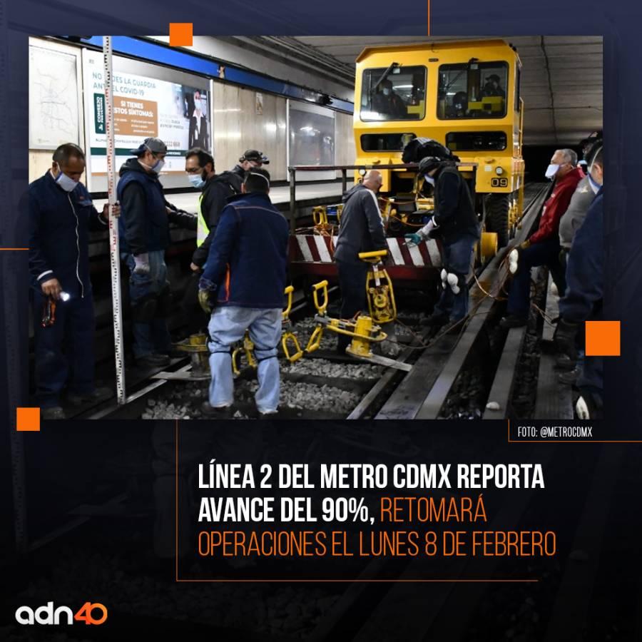 Reabre este lunes Línea 2 del Metro con 10 trenes