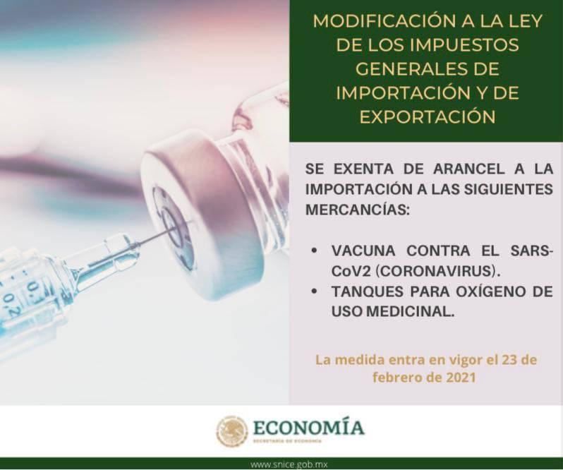 Elimina Gobierno Federal aranceles a importación de tanques de oxígeno y vacunas contra Covid