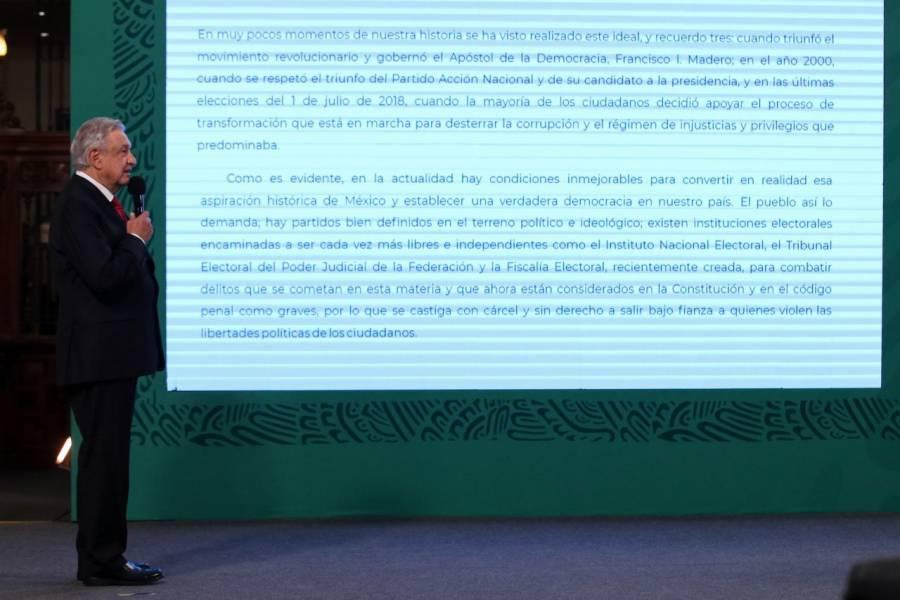 Acuerdo nacional por la democracia, pide AMLO
