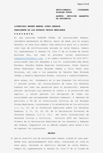 Solicita Florian Tudor audiencia con el Presidente AMLO para mostrarle evidencias de corrupción