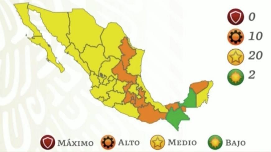 Chiapas y Campeche en semáforo verde; ningún estado en rojo por COVID-19