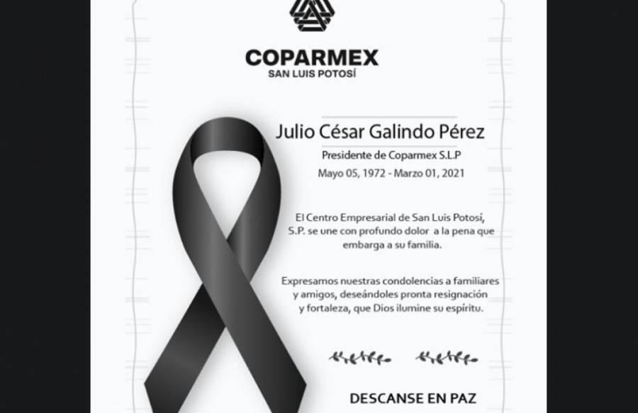 Coparmex anuncia el fallecimiento de Julio César Galindo